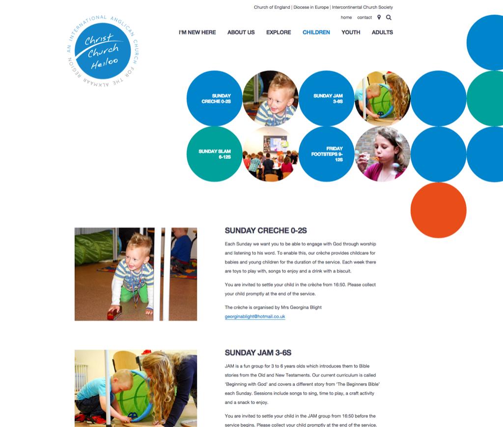 Page showing circles menu