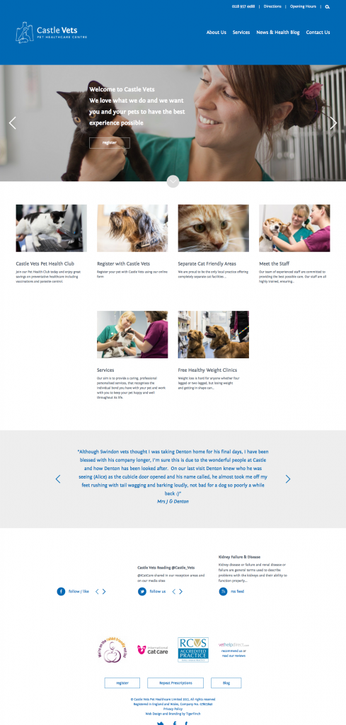 Castle Vets homepage